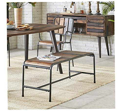 Wood & Style Furniture Bench Renu/Light Brown Multi/Gunmetal Home Office Commerial Heavy Duty Strong Décor