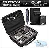 Custom GoPro Case For GoPro Hero3, Hero3+ Action Cameras and Accessories - Ideal for Travel or Home Storage + Replacement Battery and Rapid Travel Charger For GoPro AHDBT-201, AHDBT-301, AHDBT-302