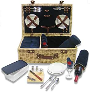 Picnic Pack Classic Wicker Picnic Basket Royal Blue, Upscale Service for 4 with Fleece Blanket