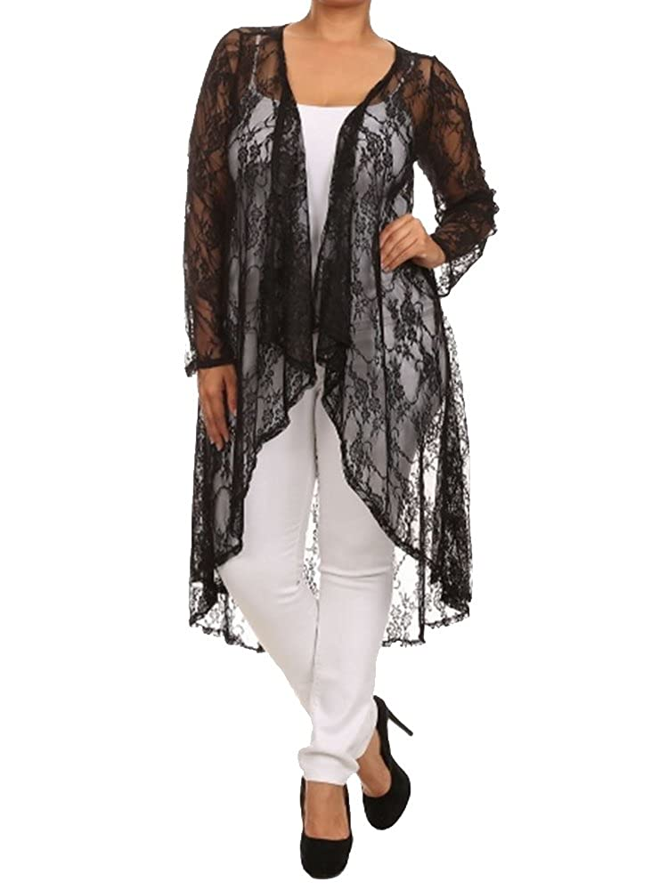 Womens Plus Size Lace Long Sleeve Maxi Cardigan Long Draped Front Curvy Fit PT1908L