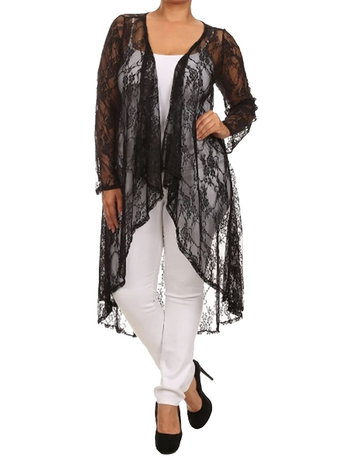Women's Plus Size Long All Lace Dressy Maxi Cardigan Draped Front Long  Sleeve