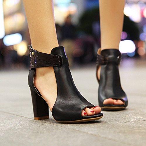 High Women Sandals COOLCEPT Heels Peep Fashion Leather Geniune Block Toe Black Shoes Pumps Bootie Aadwvtwqx