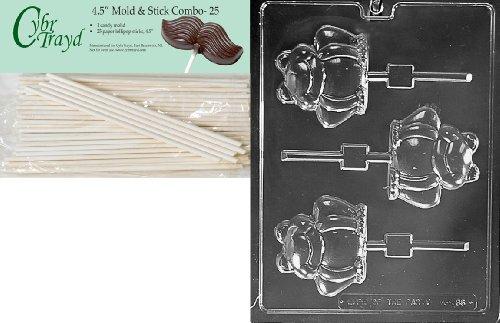 Cybrtrayd 45St25-A136 Frog Pop Animal Chocolate Candy Mold with 25 4.5-Inch Lollipop Sticks