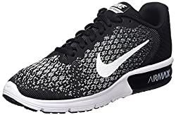 Nike Women's Air Max Sequent 2 Running Shoe Blackwhitedark Greywolf Grey Size 7.5