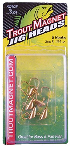 Leland Lures Trout Magnet Jig Head-1/64 oz, Gold (5 Count) ()