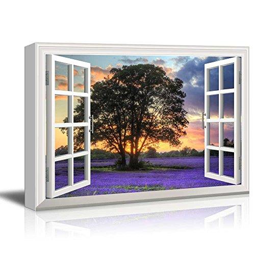Creative Window View Sunset on a Purple Field
