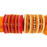 Set of 2 Wide Orange Multi Color Hand Beaded Samantha Style Cuff Bracelet