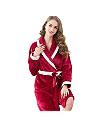 DMMSS Flannel Couple Pajamas Men and Women Bathrobe Coral Velvet Solid Color Thickening Long - sleeved Pajamas Suit , 1 , xl