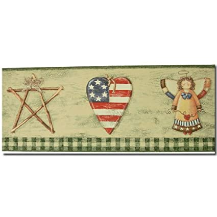 Country Americana Green Prepasted Wall Border Decorative Ceiling