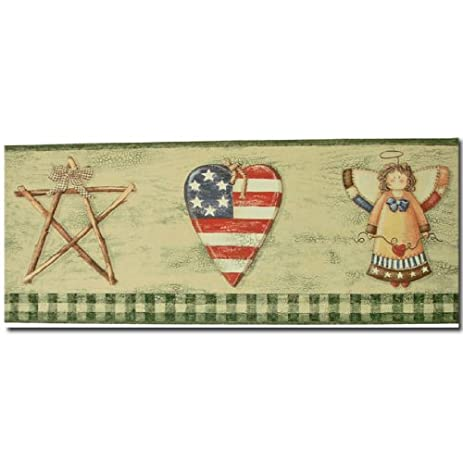 Country Americana Green Prepasted Wall Border - Decorative Ceiling ...