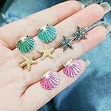 Napafashion 4 Pairs Assorted Boho Stud Earrings Colorful Sea Shell Starfish Beach Jewelry