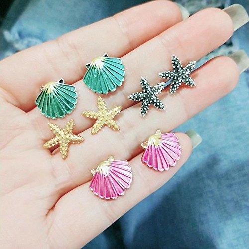 Napafashion 4 Pairs Assorted Boho Stud Earrings Colorful Sea Shell Starfish Beach Jewelry by Nadeejewelry