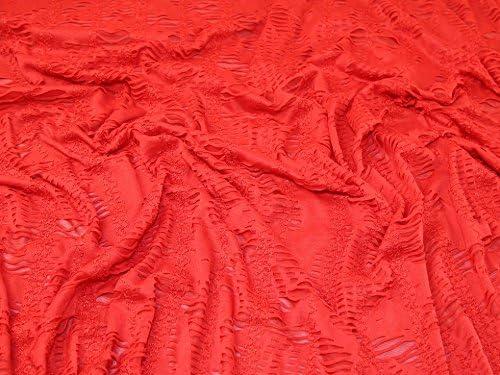 Tela de punto elástica de doble capa con textura, color rojo, por ...