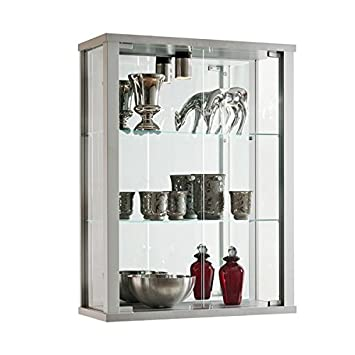silver wall mounted glass display cabinet with lighting