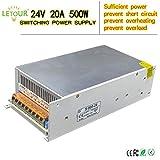 LETOUR LED Power Supply 24V 20A 500W AC 96V-240V Converter Adapter DC S-500W-24 Power Supply for LED Lighting,LED Strip,CCTV (24V 20A 500W)