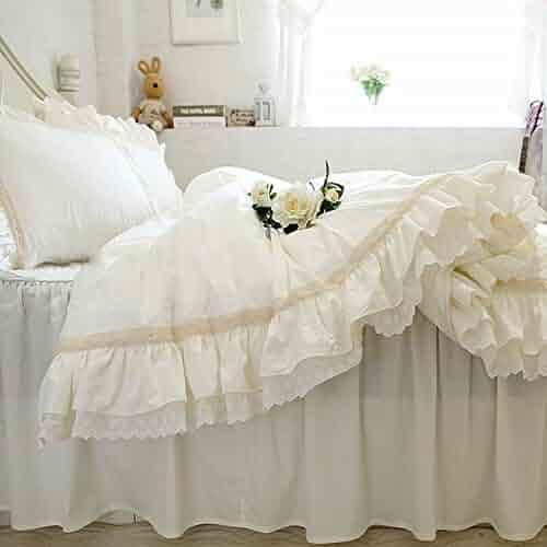 8e0b0f2dc3 KEPSWET 4PC 100% Cotton Rural Style Duvet Cover Set Luxurious White Lace  Flouncing Home Textiles