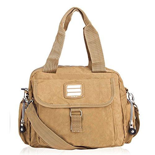 Suvelle Suvelle Go-go Travel Crossbody Bag, Handbag, Purse, Shoulder Bag 1508 - Bolso cruzados de Nylon para mujer Marrón marrón M