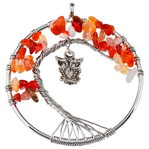 SUNYIK Carnelian Tree of Life Pendant,Tumbled Stone Wire Wrapped Owl Necklace,Healing Chakra