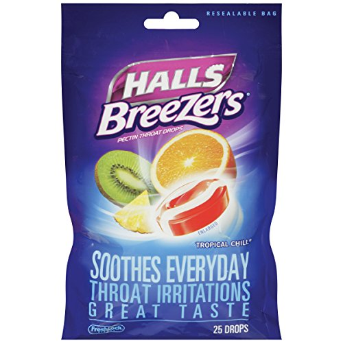 (Halls Breezers Drops, Tropical Chill, 25-Count Drops (Pack of)