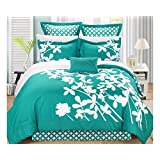 Chic Home Iris 7-Piece Comforter Set with Four Shams and Decorative Pillow, King Size, Turquoise, Bedskirt