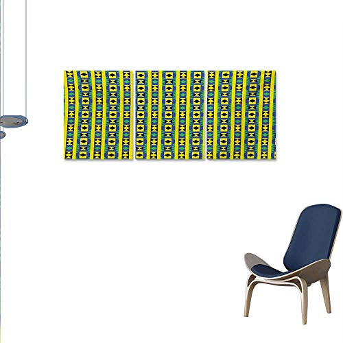 - Kente Pattern 3 Piece Canvas Wall Art Geometric Vertical Borders Funky Colorful Native Kenya Design with Triangles Print Paintings for Home Wall Office Decor 16