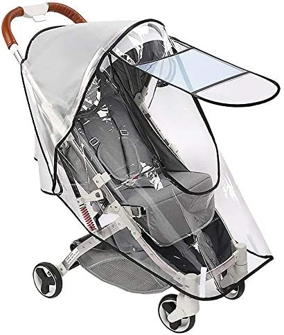 Nasjac Stroller Weather Shield Universal, [Upgraded] Baby Stroller Rain Cover with Clear Eye Screen Windproof Dustproof Toddler Stroller Covers for Outdoor Stroller Accessory (Transparent)