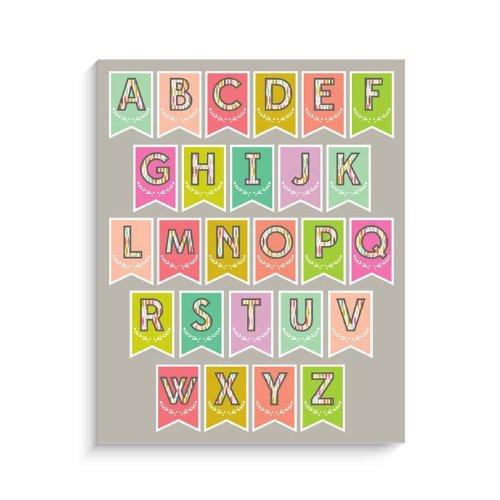 Darling Alphabet (Lucy Darling Flag Bunting Alphabet Print Wall Decor, 8