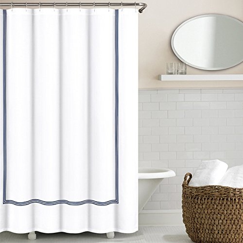 Echelon Home Three Line Hotel Collection Matelasse Shower Curtain Navy - Echelon Shower