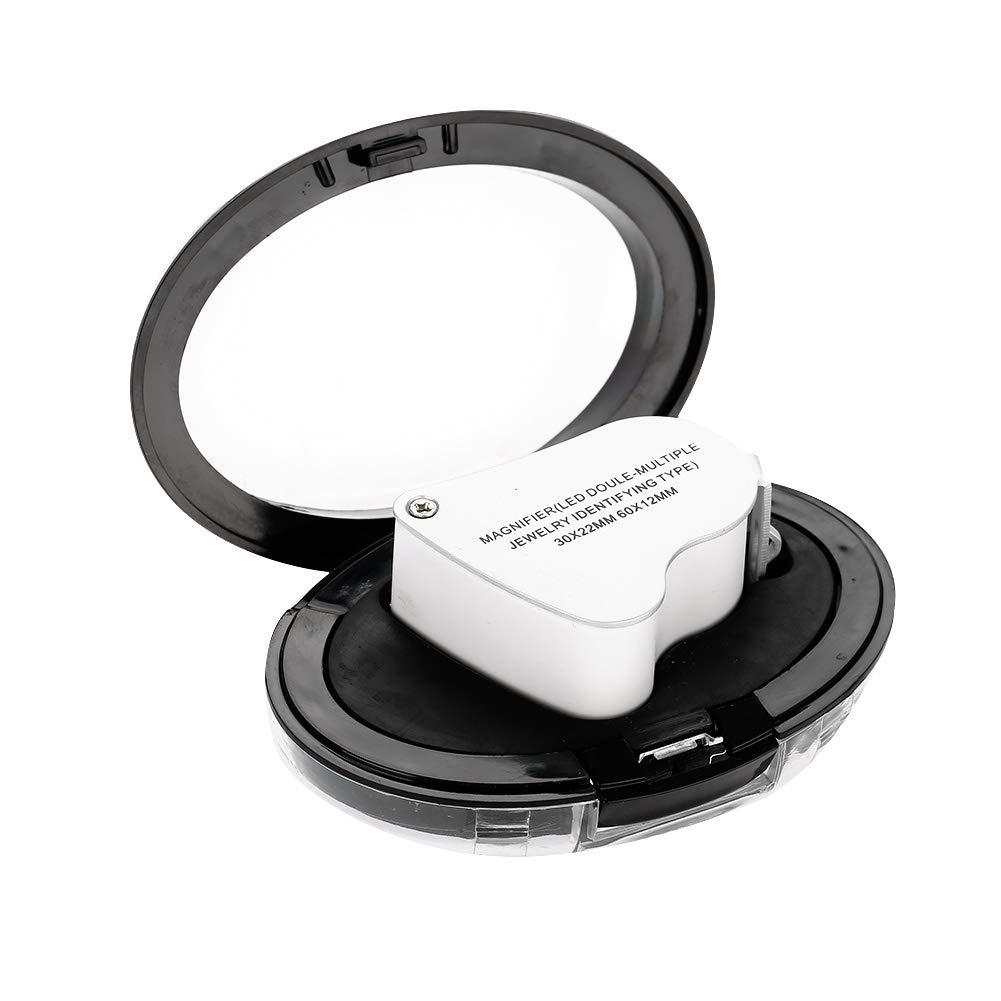 Kopfband Lupenbrille Kopfband Lupen Lampe Schmucklupe tragbare Doppellinsenlupe mit hellem LED Licht Bestens geeignet f/ür die Pr/üfung von Edelsteinen Schmuck M/ünzen und Briefmarken Lupe