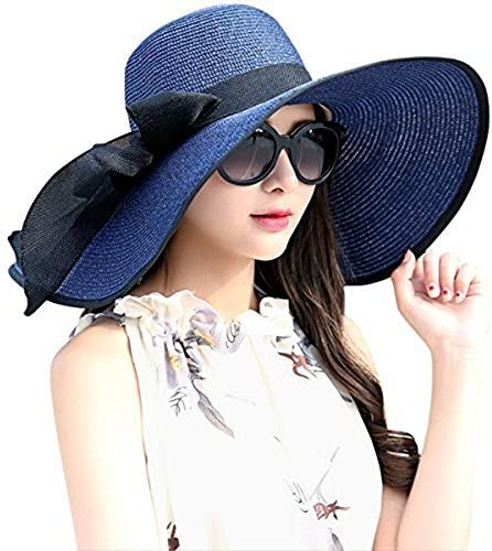 DRESHOW Womens Big Bowknot Straw Hat Floppy Foldable Roll up Beach Cap Sun Hat UPF 50+