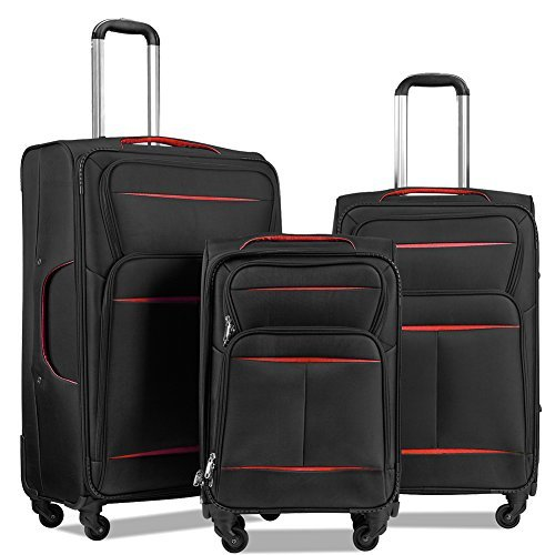 LuggageSetSuitcaseSet3PieceLuggageLightweightSoftShellwith4RollingSpinnerWheelsSuper Durable (20inch,24inch,28inch) (Black & red) - Soft Shell Rolling Case