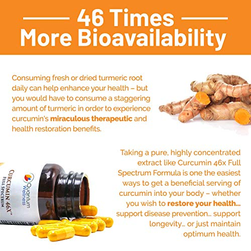 Curcumin 46x with Turmeric, Anti-Inflammatory, Anti-Oxidant with Curcuwin for 46X Higher Bioavailability for Better Absorption for Joint Pain Relief. Made in The USA (3 Bottles - 90 Capsules) by Quantum Wellness Botanical Institute (Image #3)