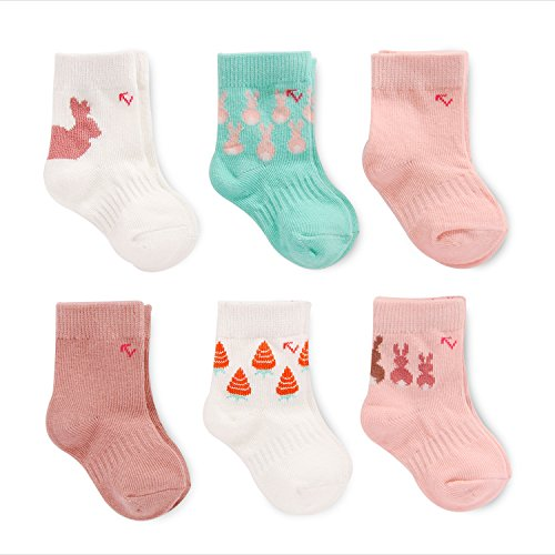 EverUP Baby Girls' Stay up Technology Crew Socks (6 Pack), Pink/Teal/Cream, 12-24 MONTHS