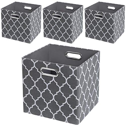 Posprica Storage Bins,Storage Cubes,11×11 Collapsible Storage Boxes Baskets Containers Drawers,More Durable Fabric Drawers - Set of 4, Grey Lantern Patterned -