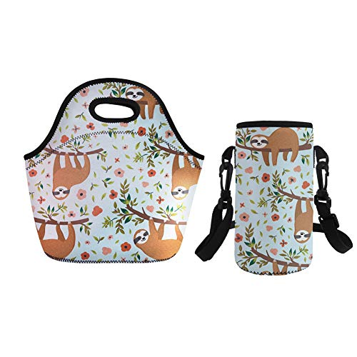 - Coloranimal Thermal Insulated Lunch Tote Bag with Small Water Bottle Sleeve Organizer 2 Piece Set-Animal Sloth Design