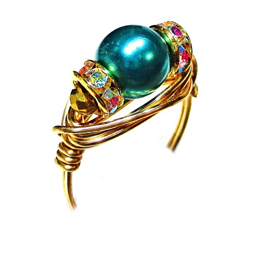 Teal Genuine Swarovski Pearl Gold Wire Wrap Ring - Exclusive Genuine Pearl