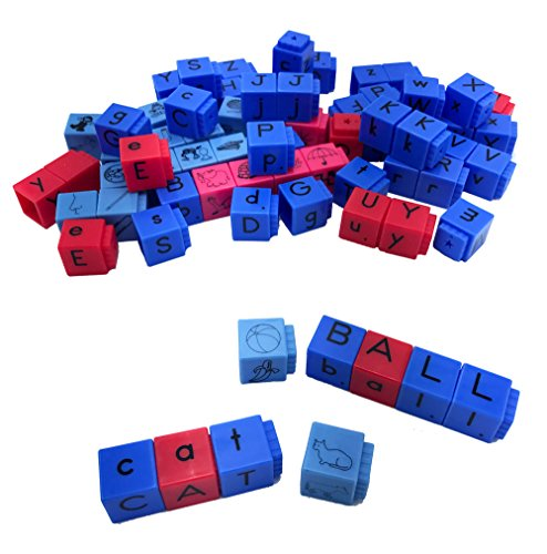 hand2mind Alphabet Linking Letter and Word Building Cubes for Early Reading (Set of 82)