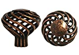 100 Pack Antique Copper Machined ACM Bird Cage Birdcage Birds Nest Twist 1-3/8'' (35mm) Diameter Kitchen Cabinet Pull Knob 1318-35