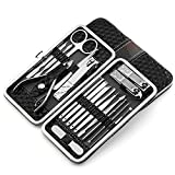 Nail Clippers Set 18pcs Stainless Steel Manicure Pedicure Ear Pick Foot Care Hand Care (Black)