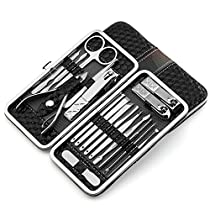 Nail Clippers Set 18pcs Stainless Steel Manicure Pedicure Ear Pick Foot Care Hard Care (Black)
