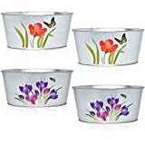 Set of 4 Garden Flower Pots Decorative Galvanized Metal Oval Planters for Home Indoor Outdoor Patio Lawn Decor by Gift Boutique