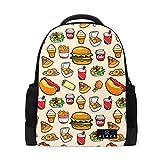 Fast Food Printed Laptop Backpack High School Bookbag Casual Travel Daypack