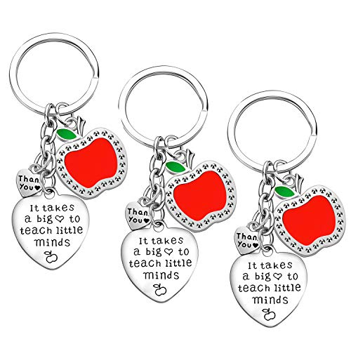 Teacher Appreciation Gift for Women, 3PCs Teacher Keychain Set, Jewelry Gift for Teachers, Birthday Gift for Teacher Gifts from Students (It Takes a Big Heart to Teach Little Minds)