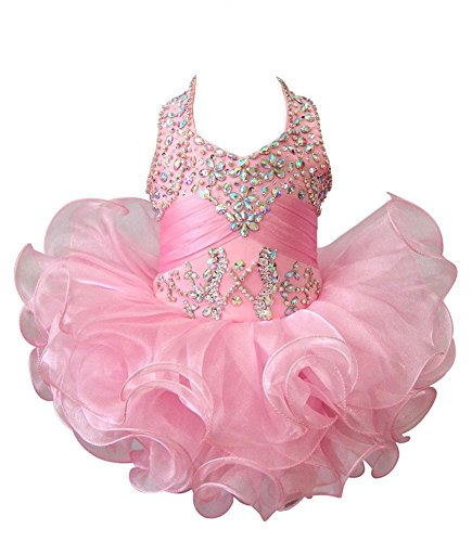 (G.CHEN ChengCheng Baby Girls Halter Cupcake National Infant Pageant Dresses 6M Pink)