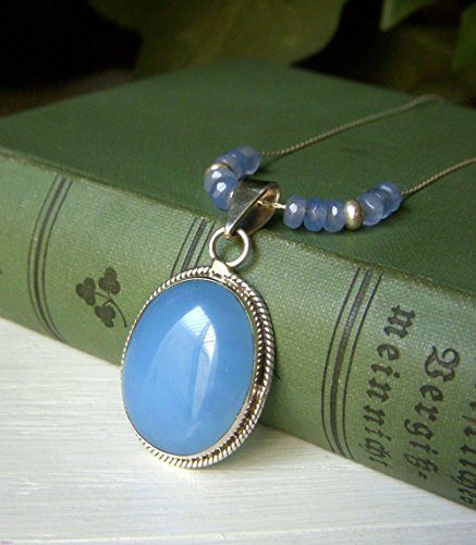 Aqua Chalcedony Sterling Silver Necklace Pendant - 17.5