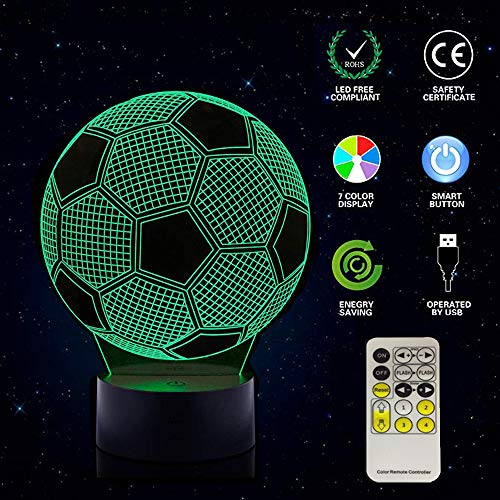 Soccer Night Lights for Kids 3D Optical Illusion