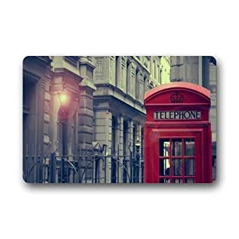 Amazon Com Personalized View Of London Retro Street And Lamp With Red Telephone Booth Pattern