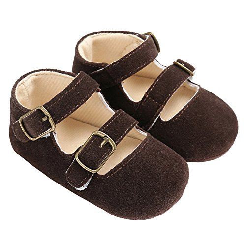 Baby Girls Double Buckle Straps Suede Mary Jane Soft Sole Princess Dress Shoes Brown Size S