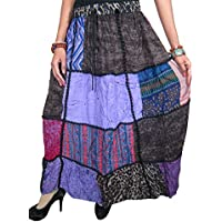 Mogul Women's Bohemian Long Skirt Gypsy Patchwork Vintage Maxi Skirt L