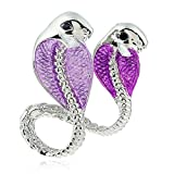 Winter's Secret European Popular Style Fashion Purple Double Cobra Alloy Brooch Animal Pin Jewelry